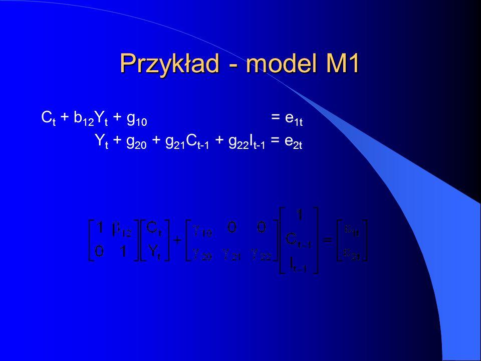 Przykład - model M1 C t + b 12 Y t + g 10 = e 1t Y t + g 20 + g 21 C t-1 + g 22 I t-1 = e 2t