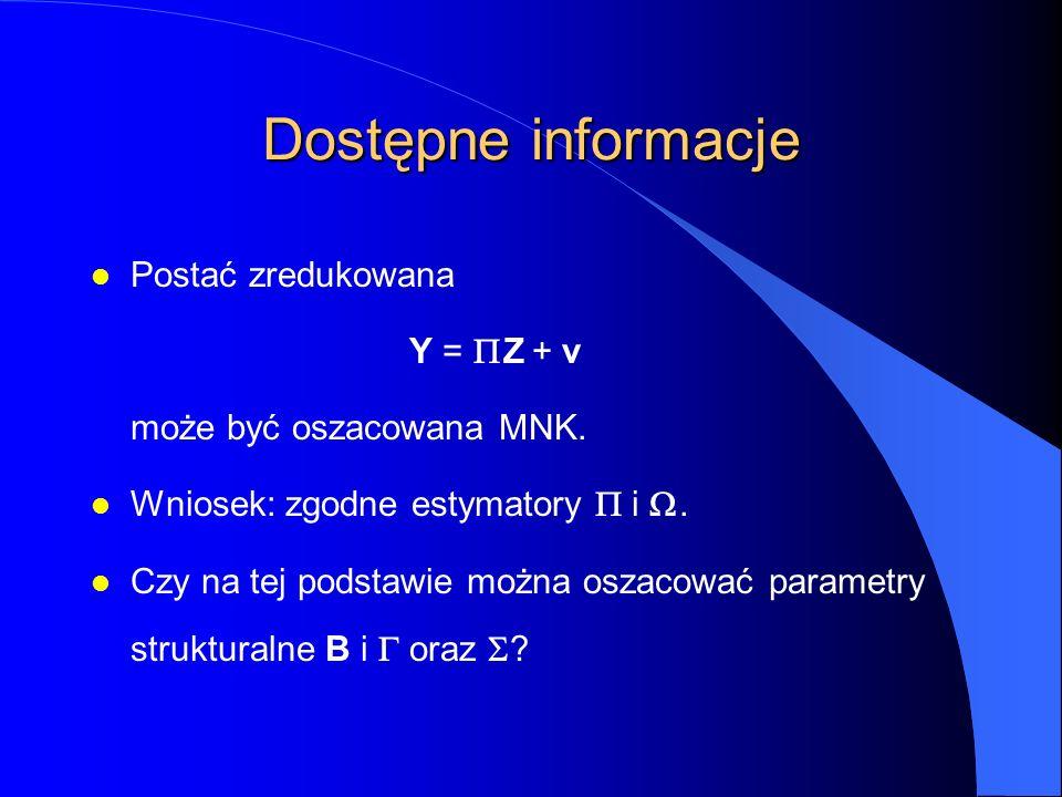 Dostępne informacje l Postać zredukowana Y =  Z + v może być oszacowana MNK. Wniosek: zgodne estymatory  i . Czy na tej podstawie można oszacować p
