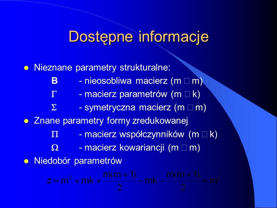 Dostępne informacje l Nieznane parametry strukturalne: B- nieosobliwa macierz (m  m)  - macierz parametrów (m  k)  - symetryczna macierz (m  m) l