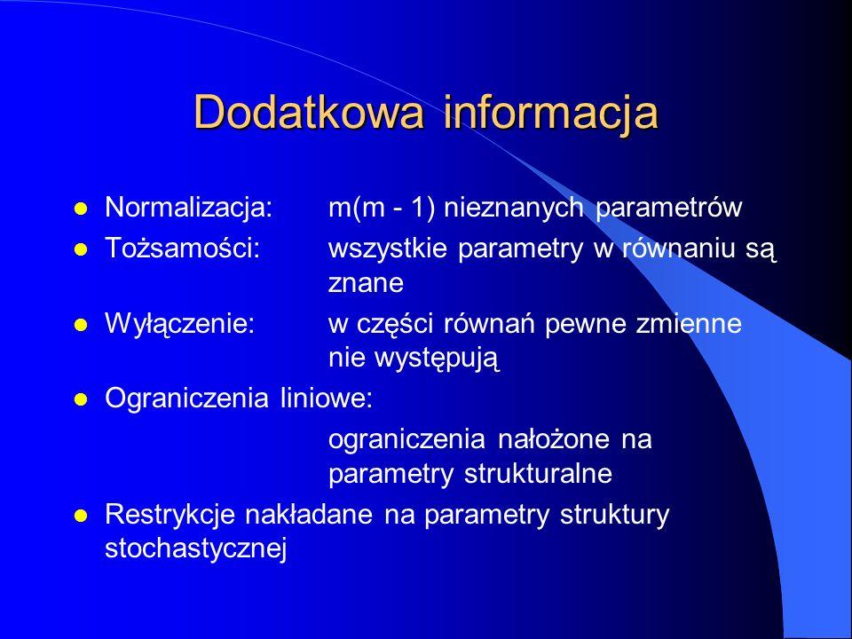Dodatkowa informacja l Normalizacja:m(m - 1) nieznanych parametrów l Tożsamości:wszystkie parametry w równaniu są znane l Wyłączenie:w części równań p