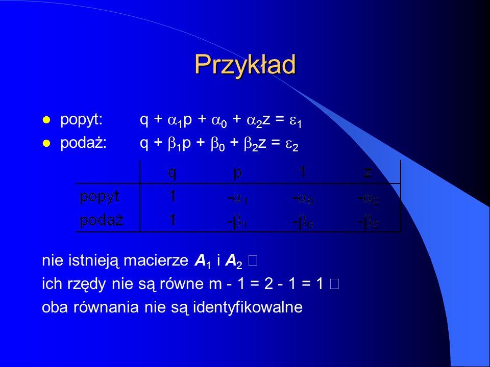 Przykład popyt:q +  1 p +  0 +  2 z =  1 podaż:q +  1 p +  0 +  2 z =  2 nie istnieją macierze A 1 i A 2  ich rzędy nie są równe  m - 1 = 2