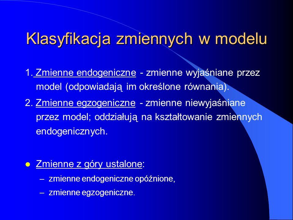 Klasyfikacja zmiennych w modelu 1. Zmienne endogeniczne - zmienne wyjaśniane przez model (odpowiadają im określone równania). 2. Zmienne egzogeniczne