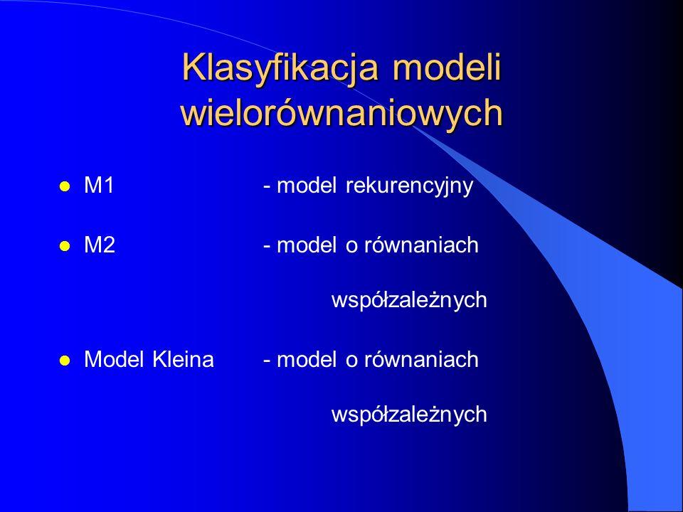 Klasyfikacja modeli wielorównaniowych l M1- model rekurencyjny l M2- model o równaniach współzależnych l Model Kleina- model o równaniach współzależny