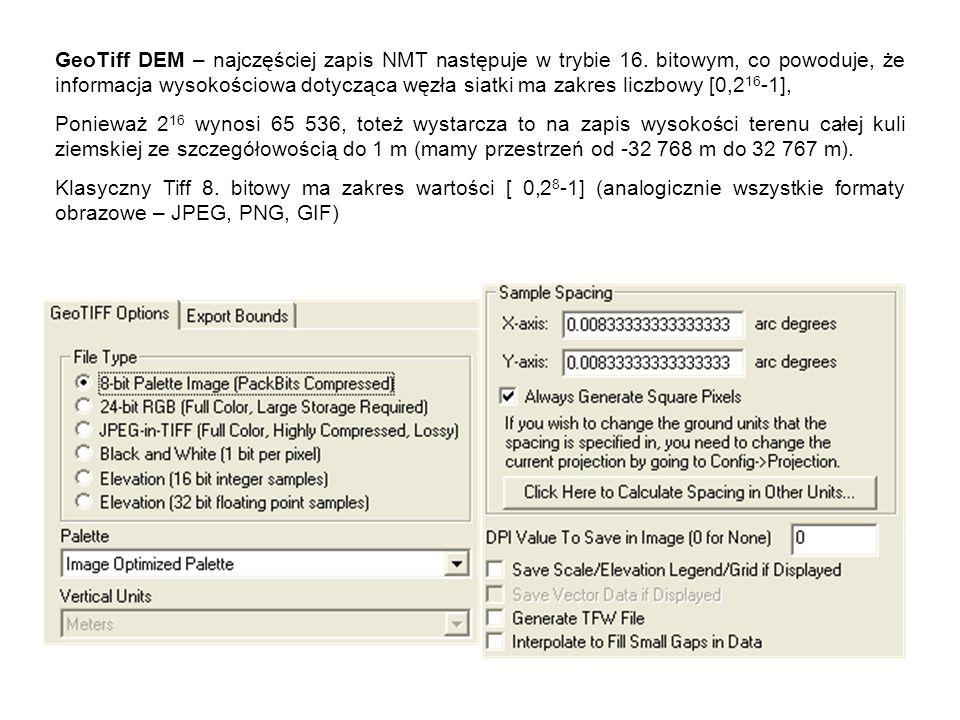 GeoTiff DEM – najczęściej zapis NMT następuje w trybie 16.