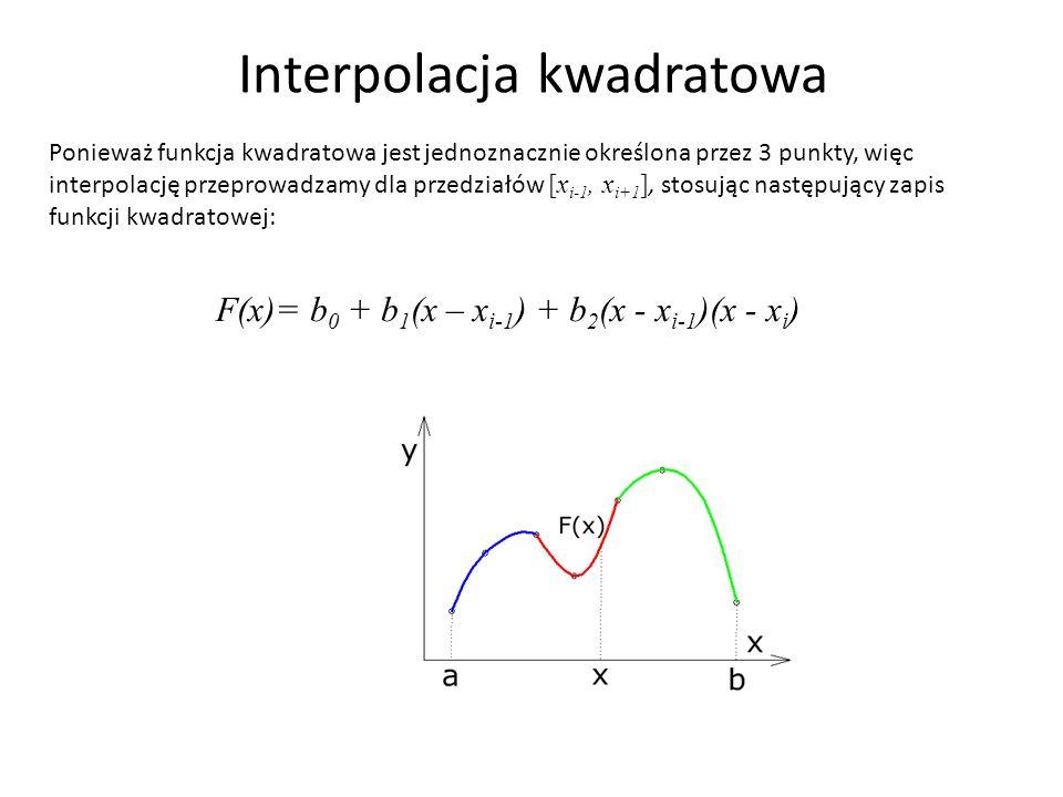 Interpolacja kwadratowa Ponieważ funkcja kwadratowa jest jednoznacznie określona przez 3 punkty, więc interpolację przeprowadzamy dla przedziałów [x i-1, x i+1 ], stosując następujący zapis funkcji kwadratowej: F(x)= b 0 + b 1 (x – x i-1 ) + b 2 (x - x i-1 )(x - x i )