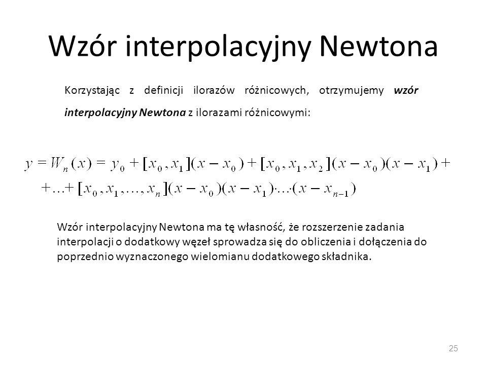 Wzór interpolacyjny Newtona 25 Korzystając z definicji ilorazów różnicowych, otrzymujemy wzór interpolacyjny Newtona z ilorazami różnicowymi: Wzór interpolacyjny Newtona ma tę własność, że rozszerzenie zadania interpolacji o dodatkowy węzeł sprowadza się do obliczenia i dołączenia do poprzednio wyznaczonego wielomianu dodatkowego składnika.