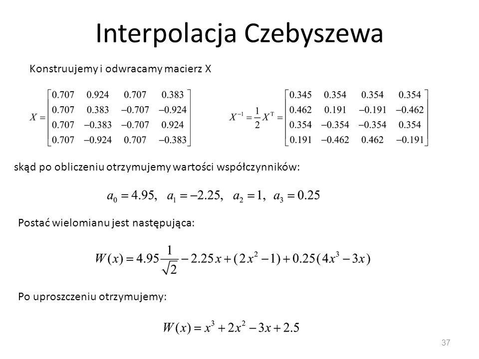 Interpolacja Czebyszewa 37 Konstruujemy i odwracamy macierz X skąd po obliczeniu otrzymujemy wartości współczynników: Postać wielomianu jest następująca: Po uproszczeniu otrzymujemy: