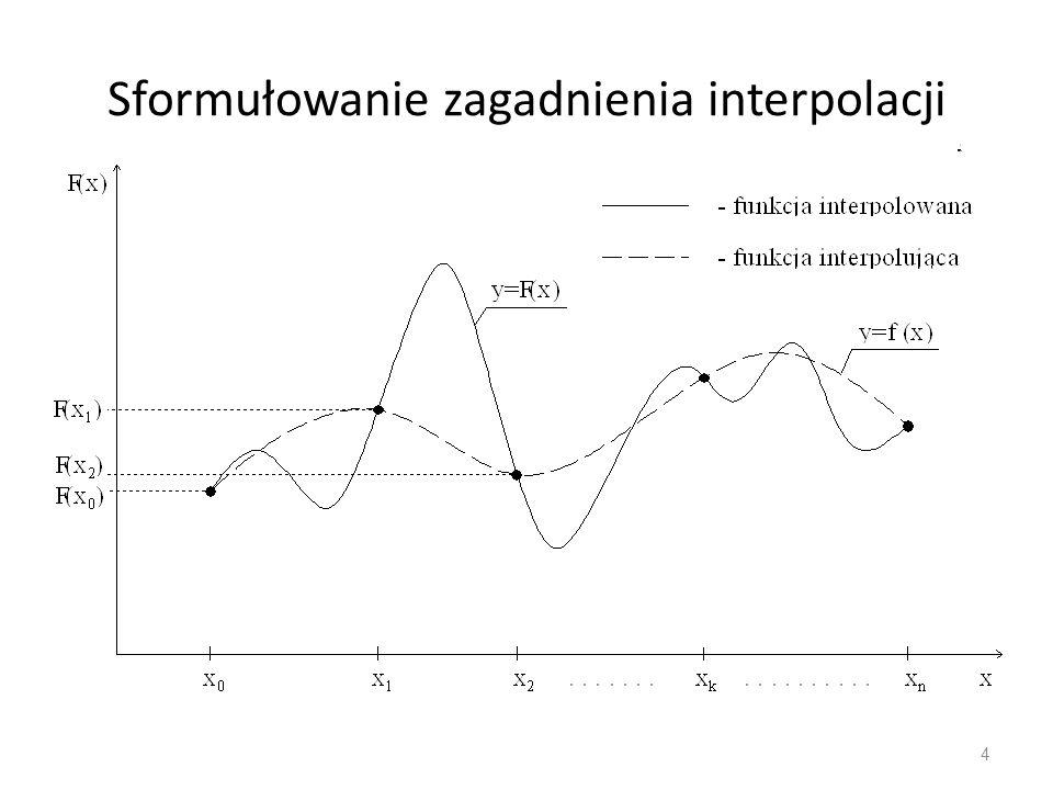 Interpolacja Czebyszewa 35 prowadzi do macierzy X, dla której macierz odwrotną można obliczyć w bardzo prosty sposób Wielomianem interpolacyjnym w tym przypadku będzie więc suma w postaci: czyli: zawierająca n+1 nieznanych parametrów