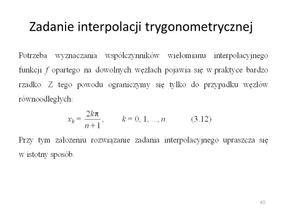 Zadanie interpolacji trygonometrycznej 40