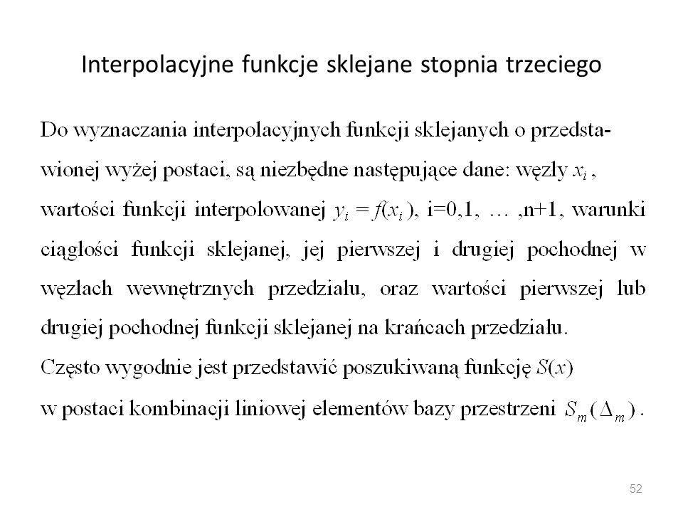 Interpolacyjne funkcje sklejane stopnia trzeciego 52