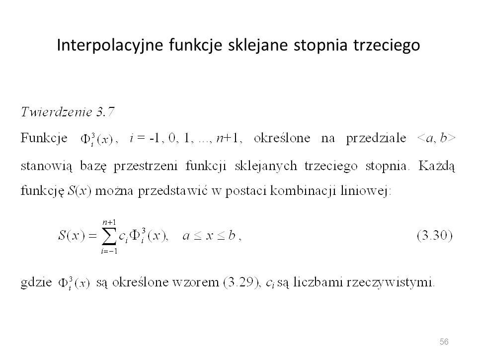 Interpolacyjne funkcje sklejane stopnia trzeciego 56