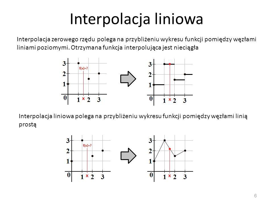 Interpolacja liniowa 7 Jeśli x określa wartość z przedziału x 0 <x <x 1 a y 0 =F(x 0 ) oraz y 1 =F(x 1 ) są tablicą wartości danej funkcji oraz h = x 1 -x 0 jest odstępem pomiędzy argumentami, wówczas liniową interpolację wartości f(x) funkcji F otrzymujemy jako