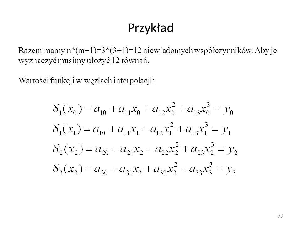Przykład 60 Razem mamy n*(m+1)=3*(3+1)=12 niewiadomych współczynników.