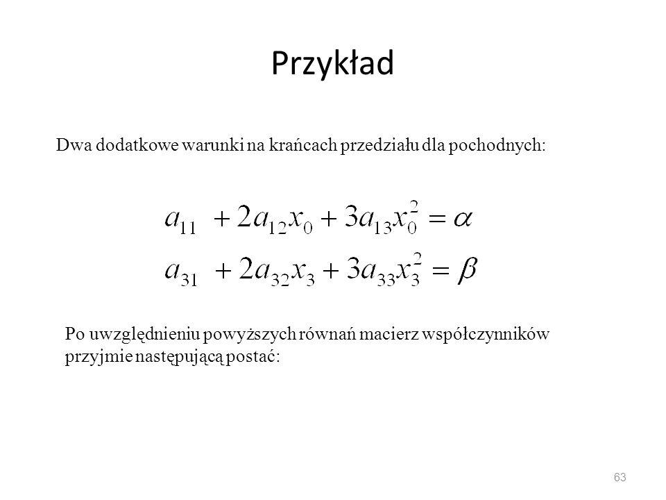 Przykład 63 Dwa dodatkowe warunki na krańcach przedziału dla pochodnych: Po uwzględnieniu powyższych równań macierz współczynników przyjmie następującą postać:
