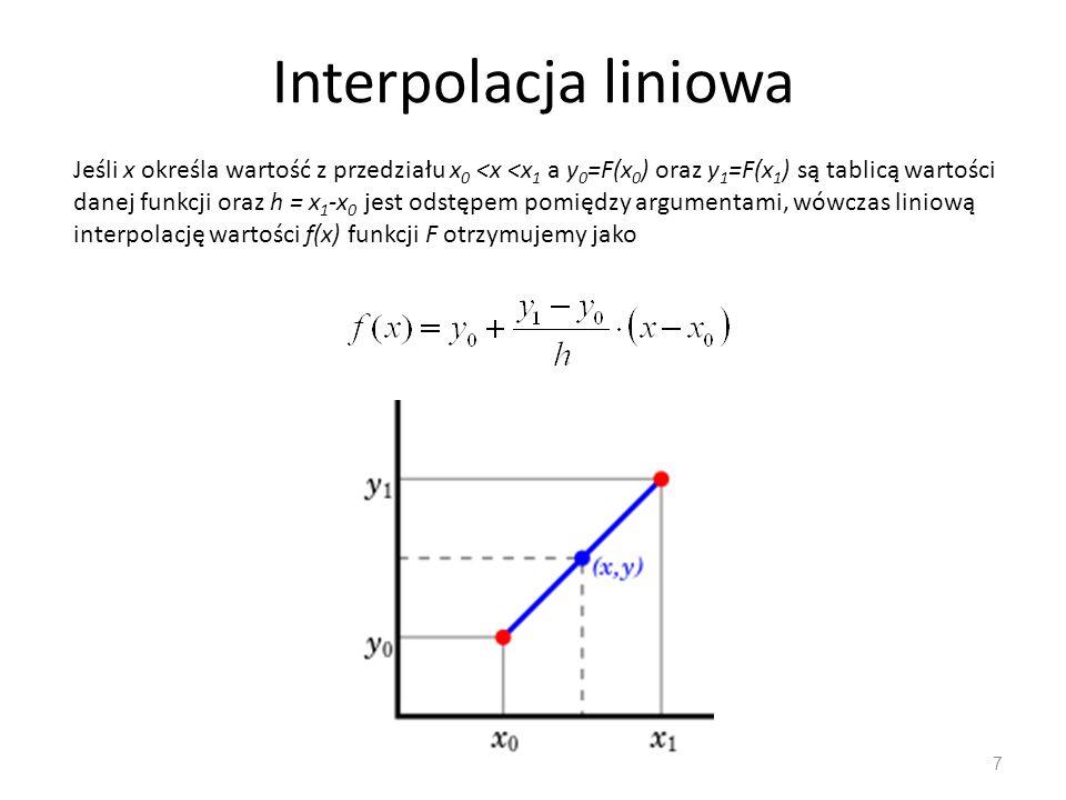 Interpolacja Lagrange'a (węzły równooległe) 28 Odpowiednie różnice rzędu n określamy jako różnice z różnic rzędu n - 1, np Korzystając z pojęcia różnicy progresywnej i różnicy wstecznej można udowodnić gdzie