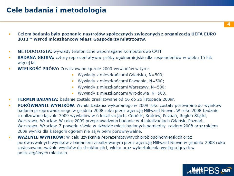 31 maja 2016r. 4 Cele badania i metodologia  Celem badania było poznanie nastrojów społecznych związanych z organizacją UEFA EURO 2012™ wśród mieszka