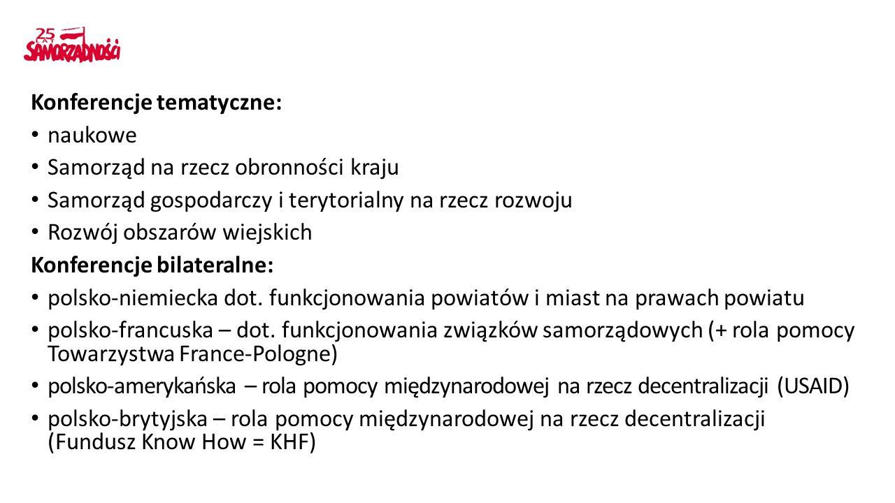 Konferencje tematyczne: naukowe Samorząd na rzecz obronności kraju Samorząd gospodarczy i terytorialny na rzecz rozwoju Rozwój obszarów wiejskich Konferencje bilateralne: polsko-niemiecka dot.