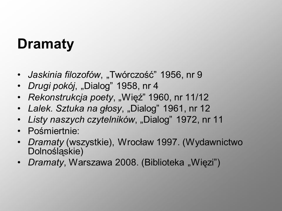 """Dramaty Jaskinia filozofów, """"Twórczość 1956, nr 9 Drugi pokój, """"Dialog 1958, nr 4 Rekonstrukcja poety, """"Więź 1960, nr 11/12 Lalek."""