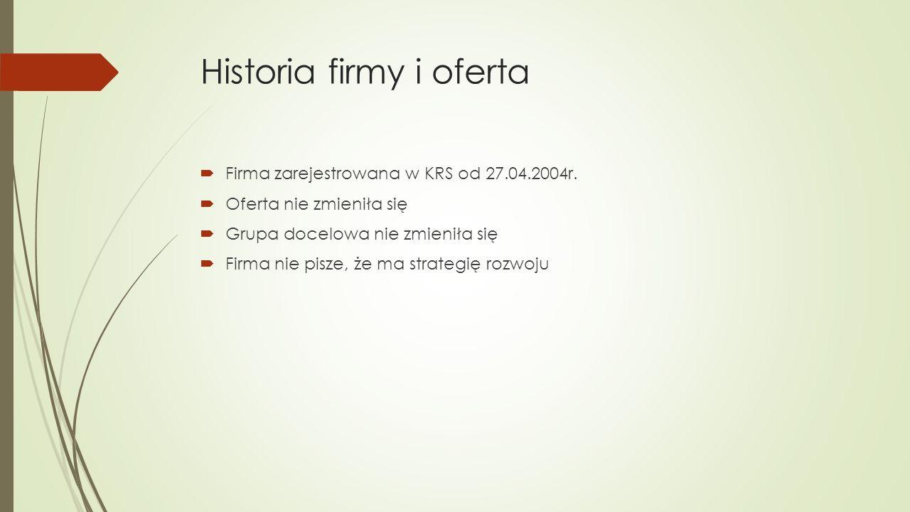 Historia firmy i oferta  Firma zarejestrowana w KRS od 27.04.2004r.