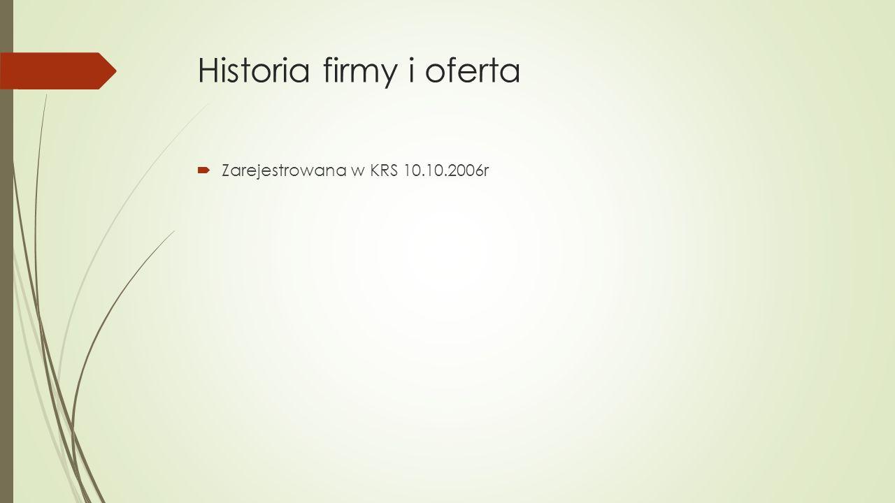 Historia firmy i oferta  Zarejestrowana w KRS 10.10.2006r