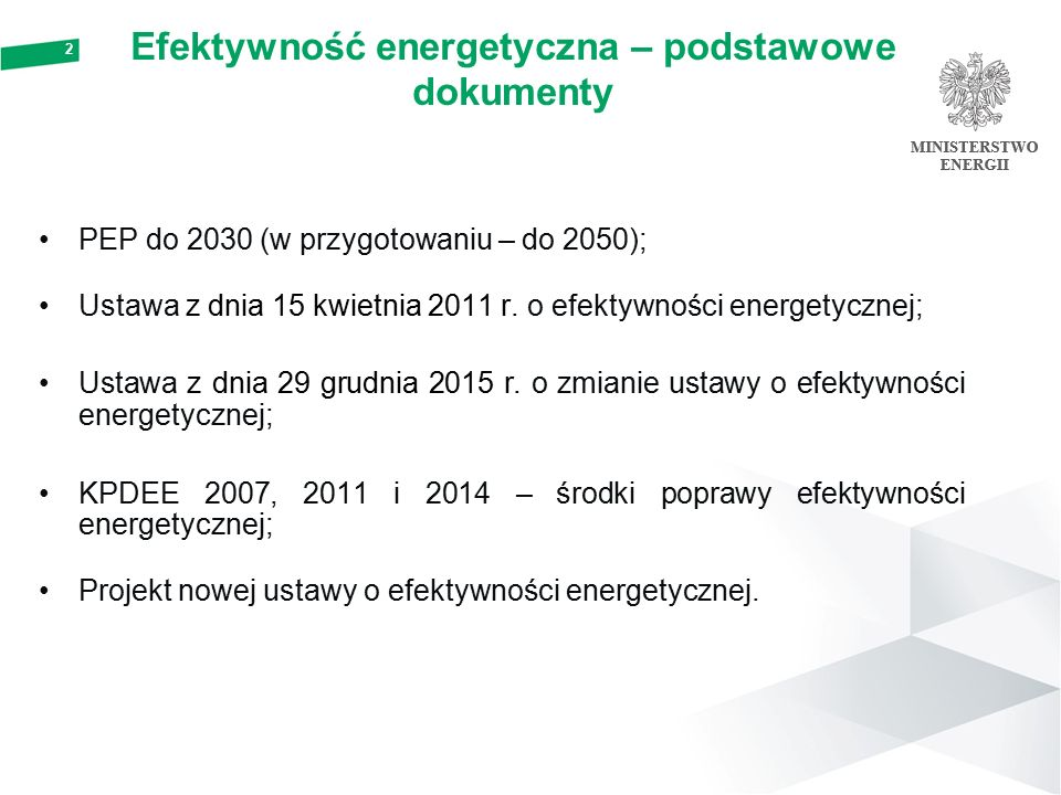 Efektywność energetyczna – podstawowe dokumenty PEP do 2030 (w przygotowaniu – do 2050); Ustawa z dnia 15 kwietnia 2011 r.