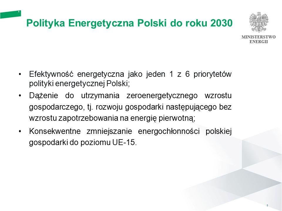 4 4 Pierwszy Krajowy Plan Działań na rzecz efektywności energetycznej 2007 Przyjęty został w lipcu 2007 r.; Określa krajowy cel w zakresie oszczędności energii na 2016 rok: - krajowy cel indykatywny w zakresie oszczędności energii w wysokości 53,5 TWh (4,59 Mtoe), co stanowi 9% średniego krajowego zużycia energii finalnej z lat 2001- 2005, - zawiera opis środków poprawy efektywności energetycznej ukierunkowanych na poszczególne sektory, jak: budynki, instytucje publiczne/usługi, przemysł, transport oraz środki horyzontalne (kampanie i system białych certyfikatów).