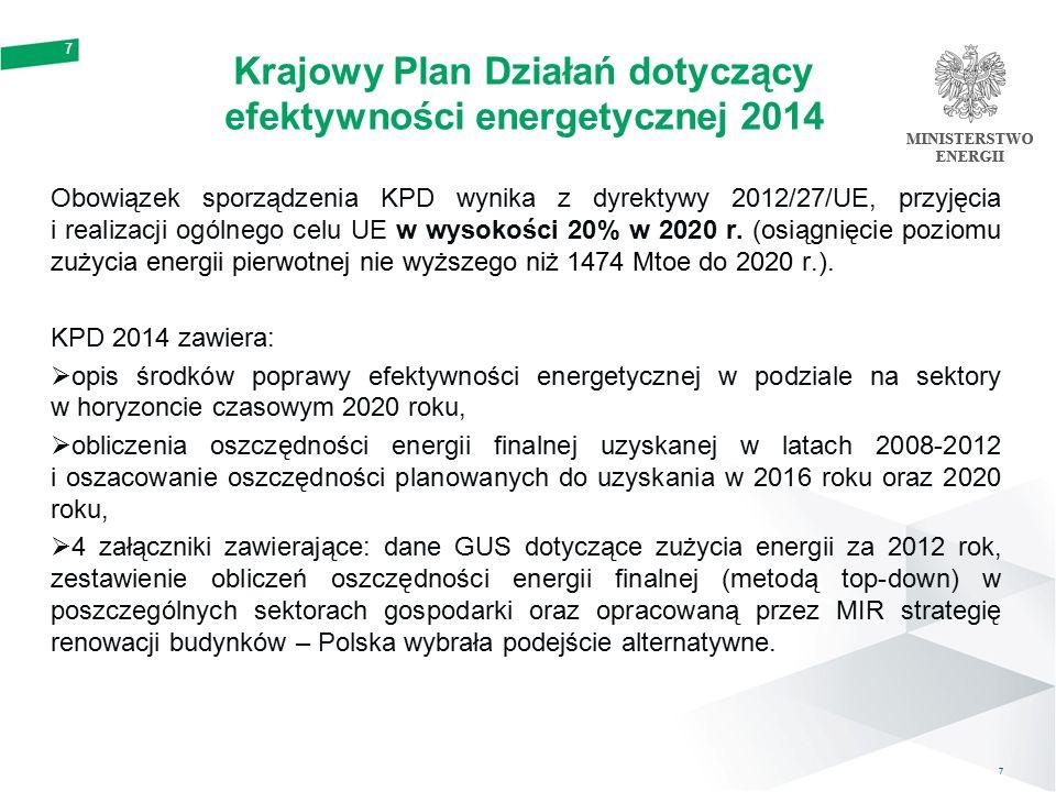 Krajowy cel efektywności energetycznej dla Polski na 2020 rok Cel w zakresie efektywności energetycznej Bezwzględne zużycie energii w 2020 roku Ograniczenie zużycia energii pierwotnej w latach 2010- 2020 Zużycie energii finalnej Zużycie energii pierwotnej 2020 13,6 Mtoe 70,4 Mtoe96,4 Mtoe  Zużycie energii pierwotnej w 2020 roku dla Polski prognozowano (zgodnie z PRIMES – Baseline 2007) na poziomie 110 Mtoe, zatem ograniczenie zużycia o 13,6 Mtoe do 2020 roku, powinno spowodować osiągnięcie poziomu zużycia energii pierwotnej równego 96,4 Mtoe w 2020 roku.