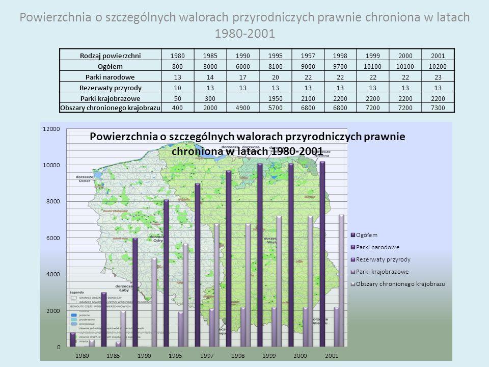 Powierzchnia o szczególnych walorach przyrodniczych prawnie chroniona w latach 1980-2001 Rodzaj powierzchni198019851990199519971998199920002001 Ogółem