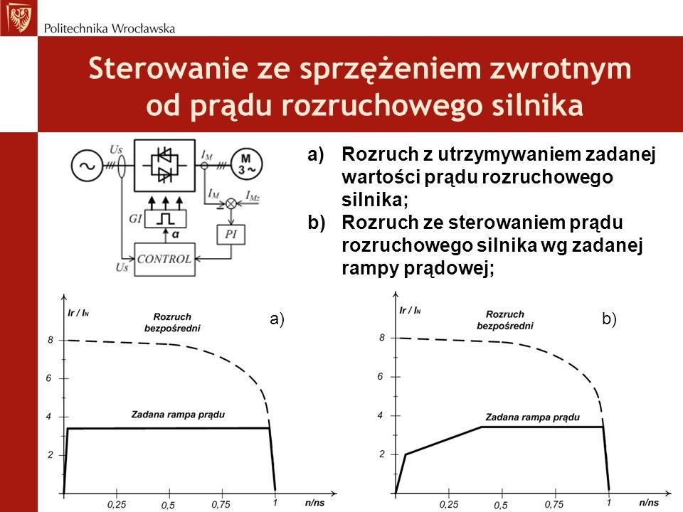 Sterowanie ze sprzężeniem zwrotnym od prądu rozruchowego silnika a)Rozruch z utrzymywaniem zadanej wartości prądu rozruchowego silnika; b)Rozruch ze sterowaniem prądu rozruchowego silnika wg zadanej rampy prądowej; a)b)