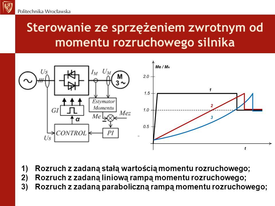 Sterowanie ze sprzężeniem zwrotnym od momentu rozruchowego silnika 1)Rozruch z zadaną stałą wartością momentu rozruchowego; 2)Rozruch z zadaną liniową rampą momentu rozruchowego; 3)Rozruch z zadaną paraboliczną rampą momentu rozruchowego;