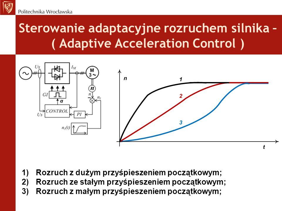 Sterowanie adaptacyjne rozruchem silnika – ( Adaptive Acceleration Control ) 1)Rozruch z dużym przyśpieszeniem początkowym; 2)Rozruch ze stałym przyśpieszeniem początkowym; 3)Rozruch z małym przyśpieszeniem początkowym;
