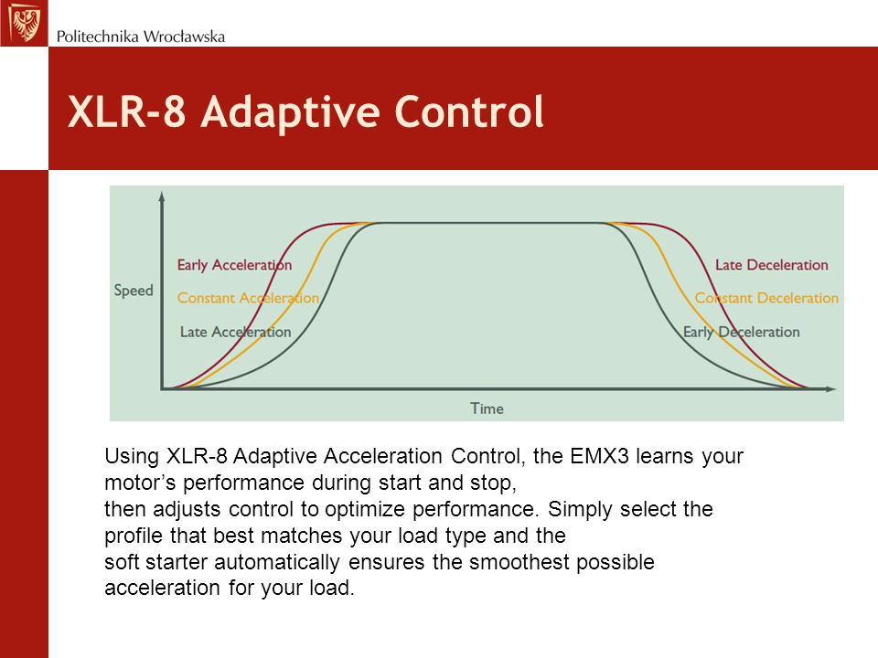 XLR-8 Adaptive Control Using XLR-8 Adaptive Acceleration Control, the EMX3 learns your motor's performance during start and stop, then adjusts control to optimize performance.