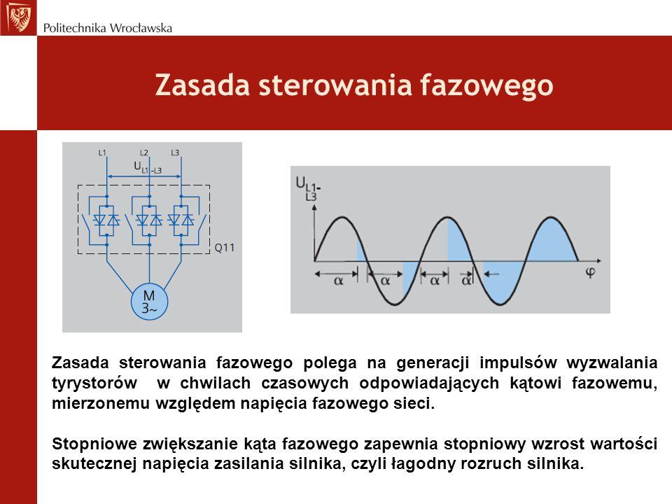 Zasada sterowania fazowego Zasada sterowania fazowego polega na generacji impulsów wyzwalania tyrystorów w chwilach czasowych odpowiadających kątowi fazowemu, mierzonemu względem napięcia fazowego sieci.