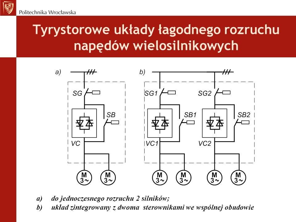 Tyrystorowe układy łagodnego rozruchu napędów wielosilnikowych a)do jednoczesnego rozruchu 2 silników; b)układ zintegrowany z dwoma sterownikami we wspólnej obudowie