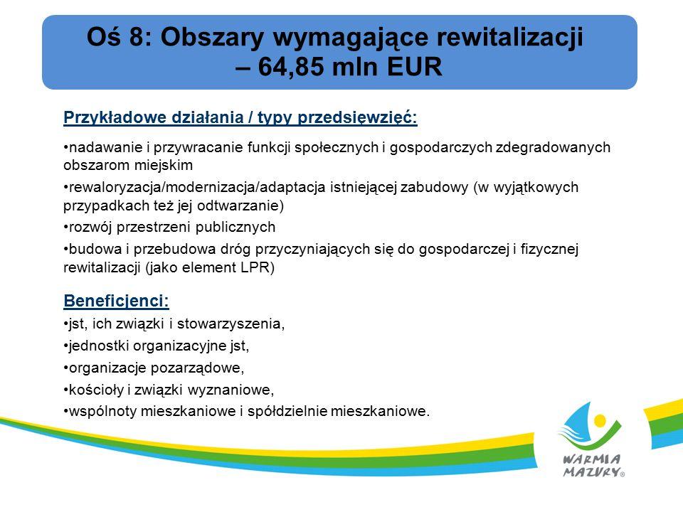 Oś 8: Obszary wymagające rewitalizacji – 64,85 mln EUR Przykładowe działania / typy przedsięwzięć: nadawanie i przywracanie funkcji społecznych i gospodarczych zdegradowanych obszarom miejskim rewaloryzacja/modernizacja/adaptacja istniejącej zabudowy (w wyjątkowych przypadkach też jej odtwarzanie) rozwój przestrzeni publicznych budowa i przebudowa dróg przyczyniających się do gospodarczej i fizycznej rewitalizacji (jako element LPR) Beneficjenci: jst, ich związki i stowarzyszenia, jednostki organizacyjne jst, organizacje pozarządowe, kościoły i związki wyznaniowe, wspólnoty mieszkaniowe i spółdzielnie mieszkaniowe.