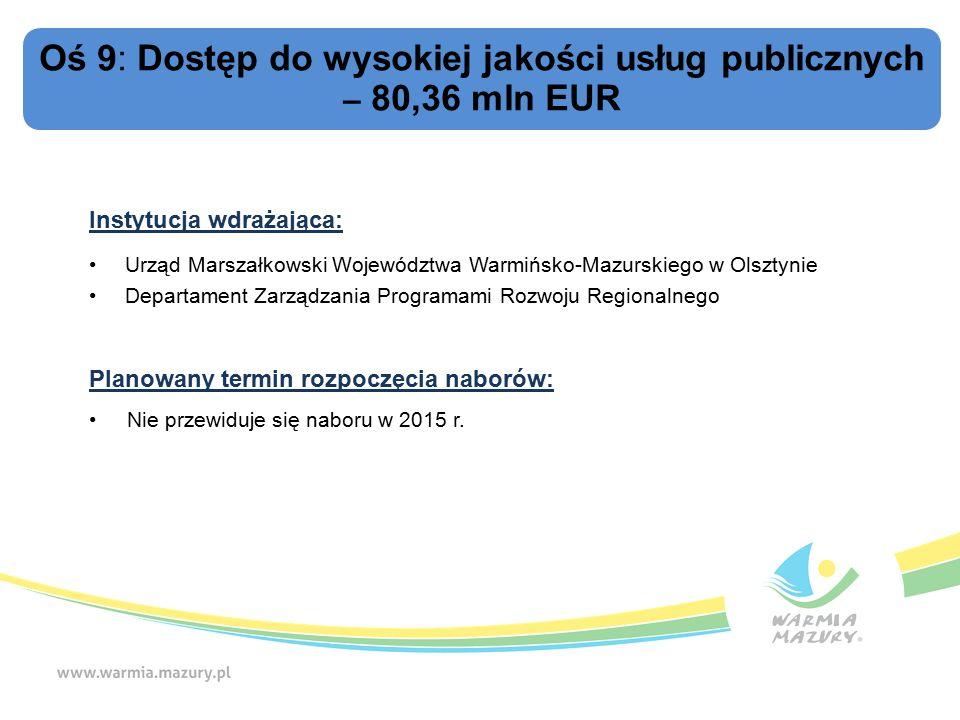 Oś 9: Dostęp do wysokiej jakości usług publicznych – 80,36 mln EUR Instytucja wdrażająca: Urząd Marszałkowski Województwa Warmińsko-Mazurskiego w Olsztynie Departament Zarządzania Programami Rozwoju Regionalnego Planowany termin rozpoczęcia naborów: Nie przewiduje się naboru w 2015 r.