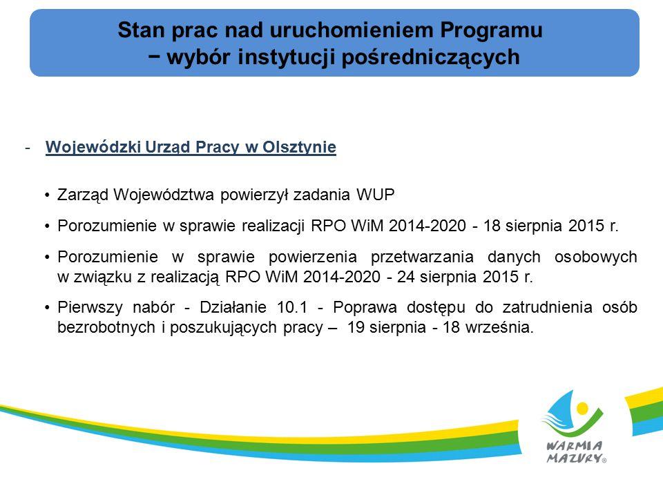 Stan prac nad uruchomieniem Programu − wybór instytucji pośredniczących -Wojewódzki Urząd Pracy w Olsztynie Zarząd Województwa powierzył zadania WUP Porozumienie w sprawie realizacji RPO WiM 2014-2020 - 18 sierpnia 2015 r.