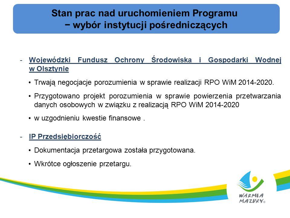 Stan prac nad uruchomieniem Programu − wybór instytucji pośredniczących -Wojewódzki Fundusz Ochrony Środowiska i Gospodarki Wodnej w Olsztynie Trwają negocjacje porozumienia w sprawie realizacji RPO WiM 2014-2020.