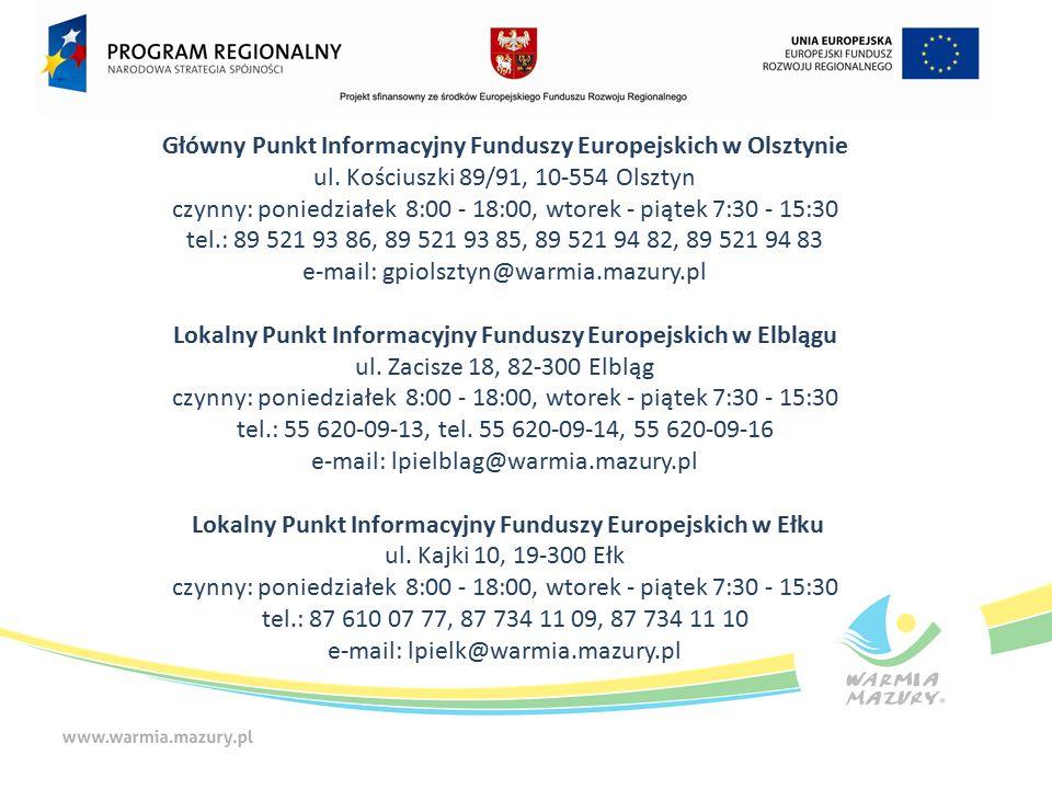 Główny Punkt Informacyjny Funduszy Europejskich w Olsztynie ul.