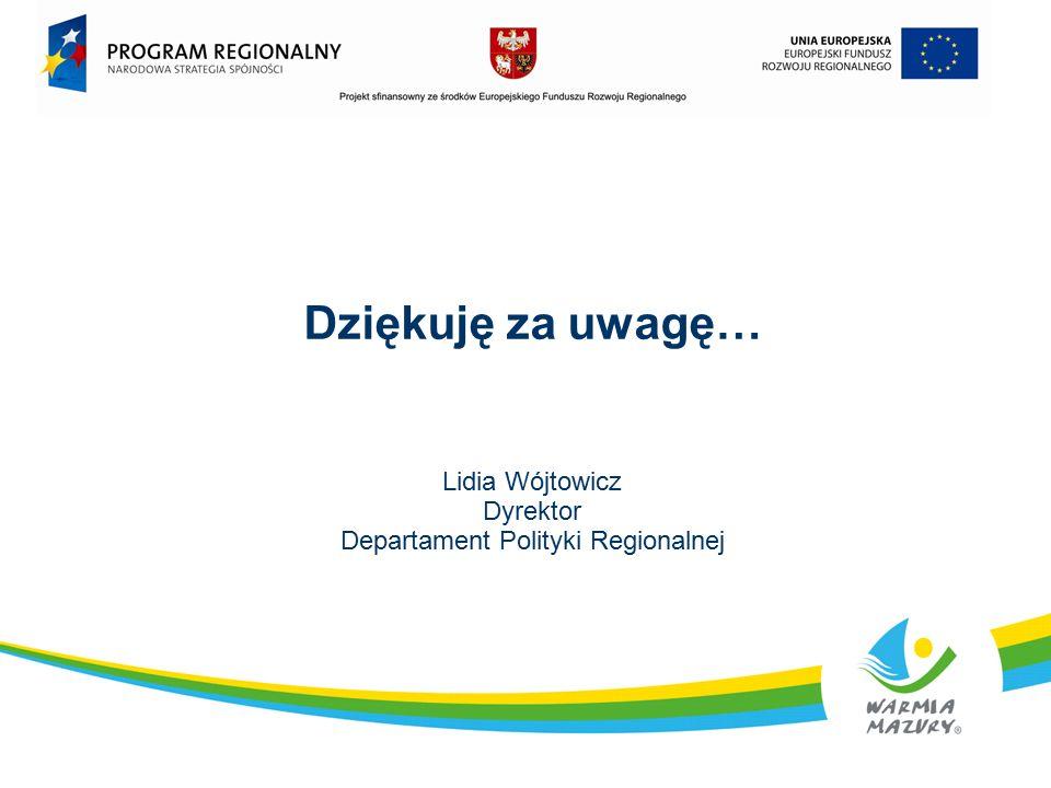 Dziękuję za uwagę… Lidia Wójtowicz Dyrektor Departament Polityki Regionalnej