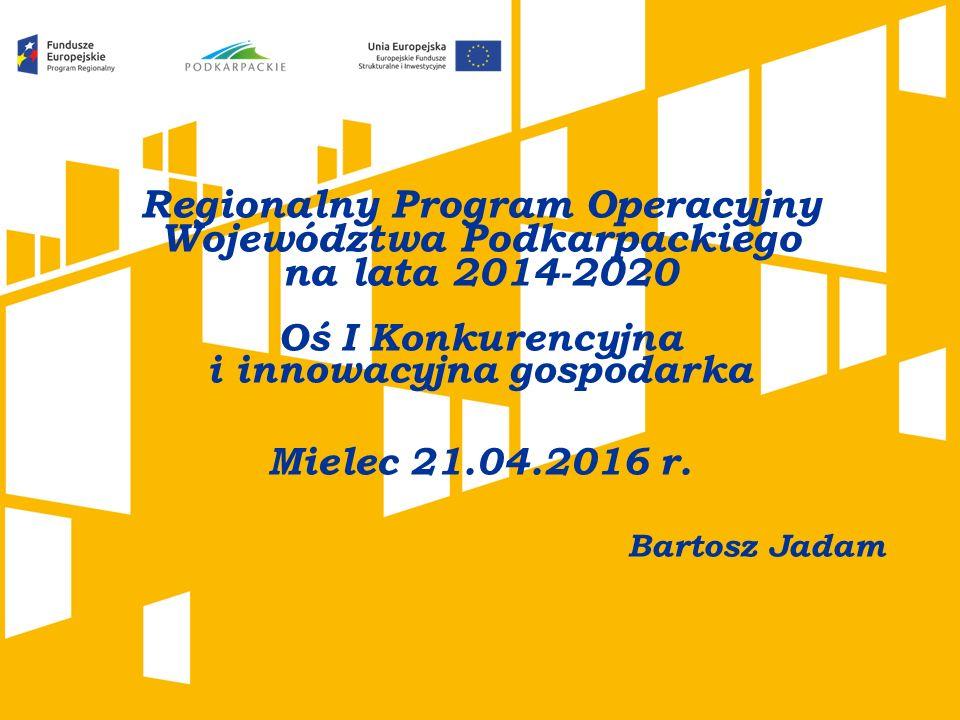 Regionalny Program Operacyjny Województwa Podkarpackiego na lata 2014-2020 Oś I Konkurencyjna i innowacyjna gospodarka Mielec 21.04.2016 r.