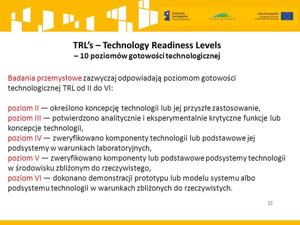 15 TRL's – Technology Readiness Levels – 10 poziomów gotowości technologicznej Badania przemysłowe zazwyczaj odpowiadają poziomom gotowości technologicznej TRL od II do VI: poziom II — określono koncepcję technologii lub jej przyszłe zastosowanie, poziom III — potwierdzono analitycznie i eksperymentalnie krytyczne funkcje lub koncepcje technologii, poziom IV — zweryfikowano komponenty technologii lub podstawowe jej podsystemy w warunkach laboratoryjnych, poziom V — zweryfikowano komponenty lub podstawowe podsystemy technologii w środowisku zbliżonym do rzeczywistego, poziom VI — dokonano demonstracji prototypu lub modelu systemu albo podsystemu technologii w warunkach zbliżonych do rzeczywistych.