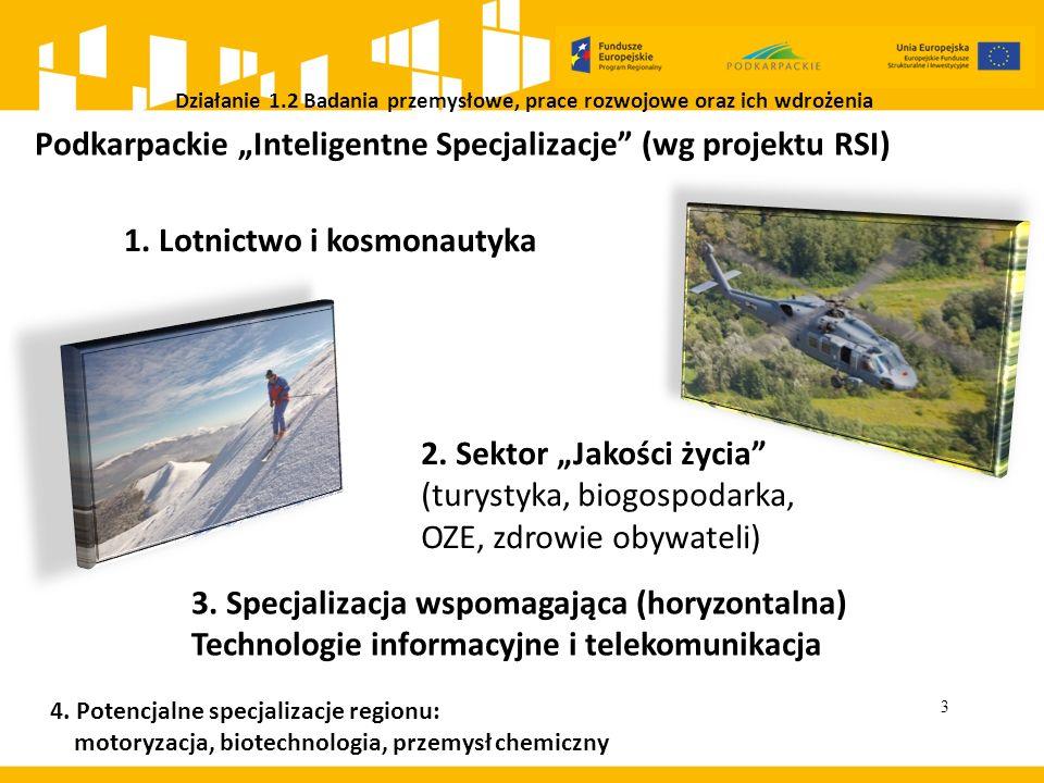 """Działanie 1.2 Badania przemysłowe, prace rozwojowe oraz ich wdrożenia 3 Podkarpackie """"Inteligentne Specjalizacje"""" (wg projektu RSI) 1. Lotnictwo i kos"""