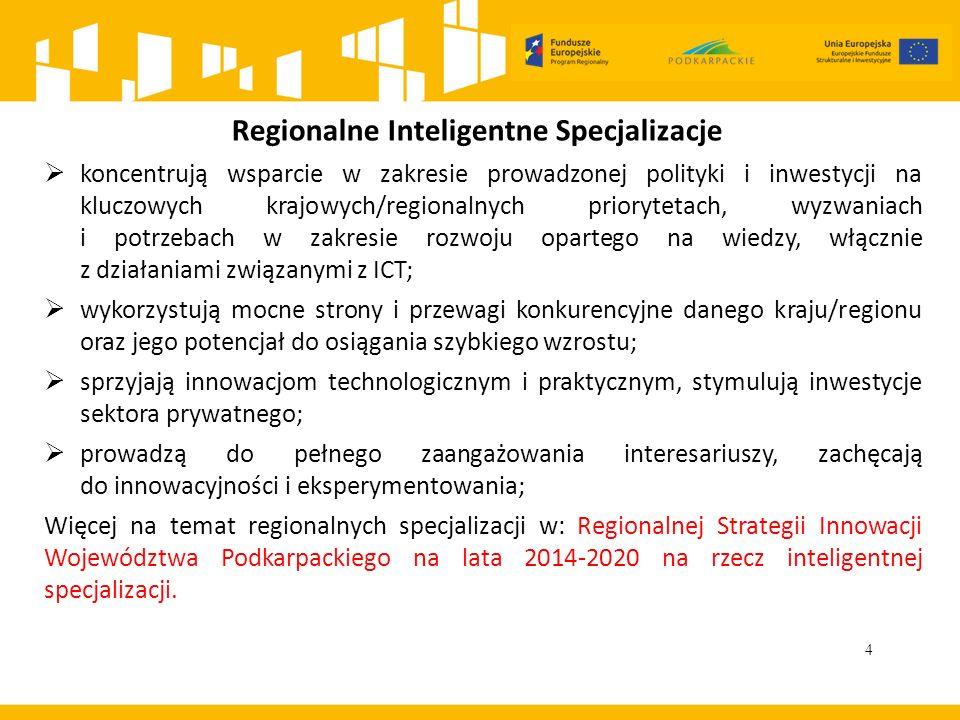4 Regionalne Inteligentne Specjalizacje  koncentrują wsparcie w zakresie prowadzonej polityki i inwestycji na kluczowych krajowych/regionalnych priorytetach, wyzwaniach i potrzebach w zakresie rozwoju opartego na wiedzy, włącznie z działaniami związanymi z ICT;  wykorzystują mocne strony i przewagi konkurencyjne danego kraju/regionu oraz jego potencjał do osiągania szybkiego wzrostu;  sprzyjają innowacjom technologicznym i praktycznym, stymulują inwestycje sektora prywatnego;  prowadzą do pełnego zaangażowania interesariuszy, zachęcają do innowacyjności i eksperymentowania; Więcej na temat regionalnych specjalizacji w: Regionalnej Strategii Innowacji Województwa Podkarpackiego na lata 2014-2020 na rzecz inteligentnej specjalizacji.