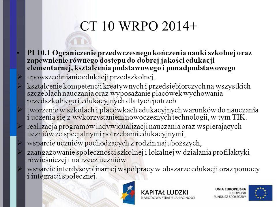 CT 10 WRPO 2014+ PI 10.1 Ograniczenie przedwczesnego kończenia nauki szkolnej oraz zapewnienie równego dostępu do dobrej jakości edukacji elementarnej, kształcenia podstawowego i ponadpodstawowego  upowszechnianie edukacji przedszkolnej,  kształcenie kompetencji kreatywnych i przedsiębiorczych na wszystkich szczeblach nauczania oraz wyposażanie placówek wychowania przedszkolnego i edukacyjnych dla tych potrzeb  tworzenie w szkołach i placówkach edukacyjnych warunków do nauczania i uczenia się z wykorzystaniem nowoczesnych technologii, w tym TIK.