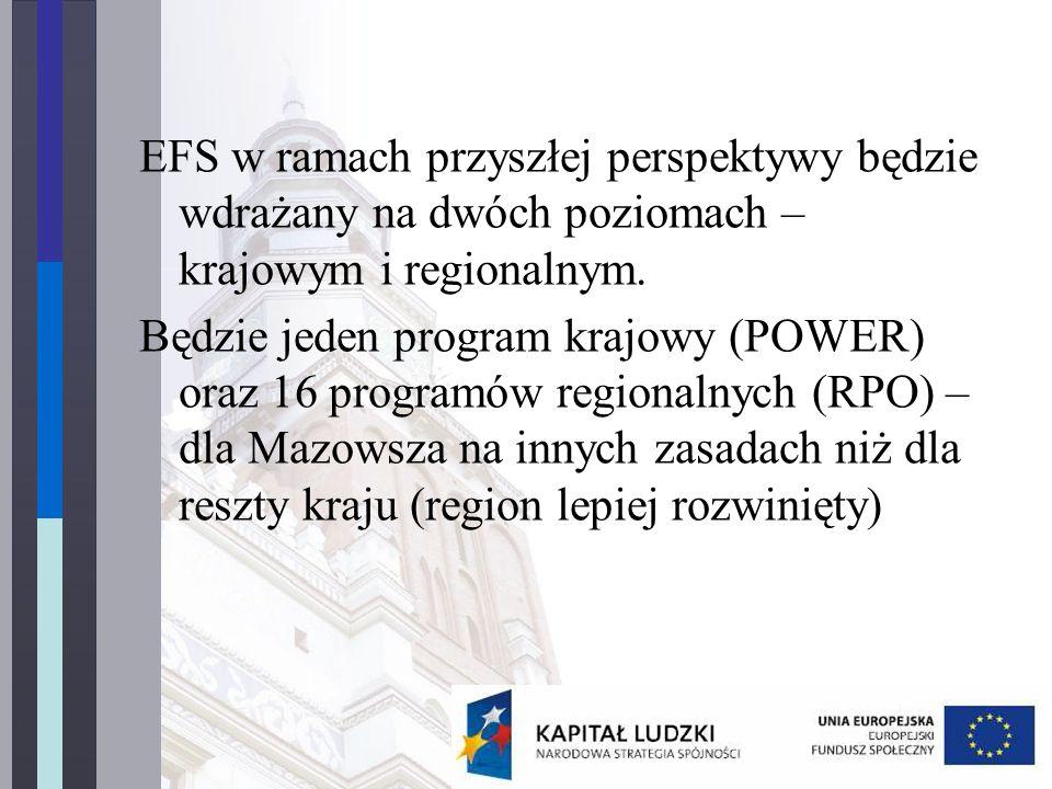 EFS w ramach przyszłej perspektywy będzie wdrażany na dwóch poziomach – krajowym i regionalnym.