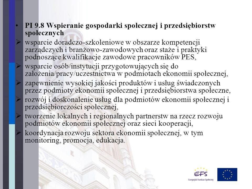 PI 9.8 Wspieranie gospodarki społecznej i przedsiębiorstw społecznych  wsparcie doradczo-szkoleniowe w obszarze kompetencji zarządczych i branżowo-zawodowych oraz staże i praktyki podnoszące kwalifikacje zawodowe pracowników PES,  wsparcie osób/instytucji przygotowujących się do założenia/pracy/uczestnictwa w podmiotach ekonomii społecznej,  zapewnienie wysokiej jakości produktów i usług świadczonych przez podmioty ekonomii społecznej i przedsiębiorstwa społeczne,  rozwój i doskonalenie usług dla podmiotów ekonomii społecznej i przedsiębiorczości społecznej,  tworzenie lokalnych i regionalnych partnerstw na rzecz rozwoju podmiotów ekonomii społecznej oraz sieci kooperacji,  koordynacja rozwoju sektora ekonomii społecznej, w tym monitoring, promocja, edukacja.