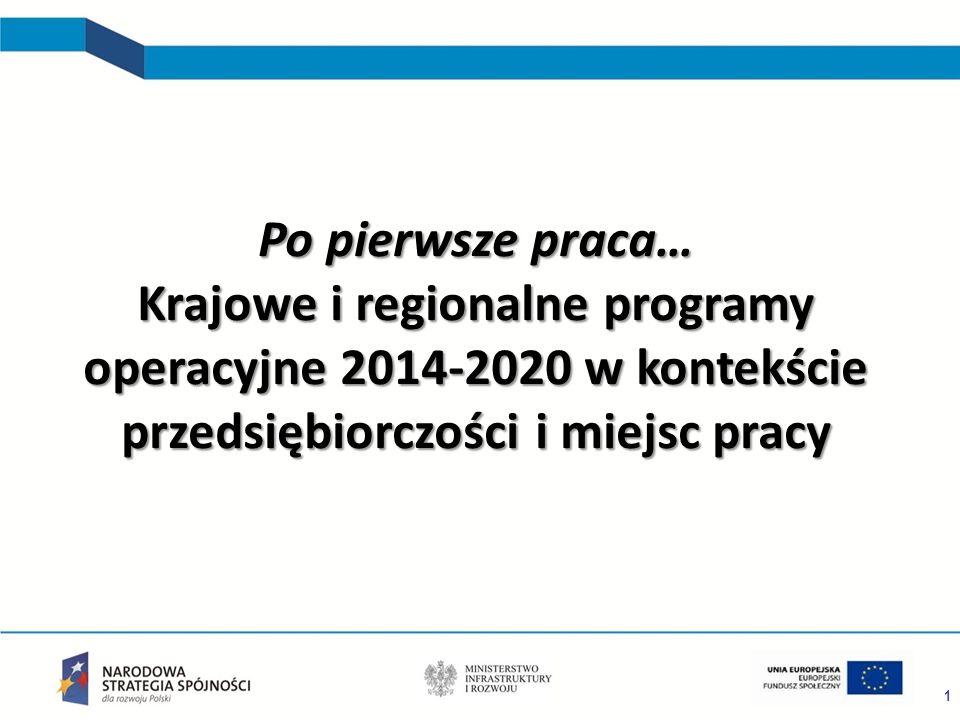 1 Po pierwsze praca… Krajowe i regionalne programy operacyjne 2014-2020 w kontekście przedsiębiorczości i miejsc pracy