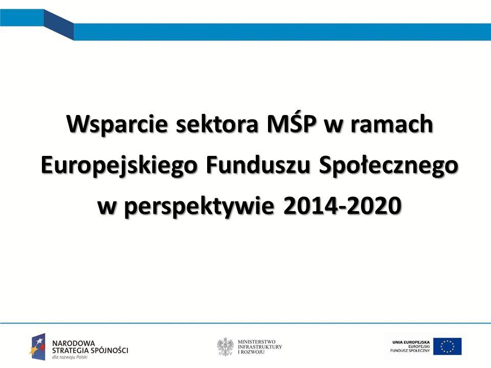 Zmiana podejścia do wspierania MŚP w perspektywie 2014-2020 Położenie większego nacisku na diagnozę potrzeb rozwojowych, większa dywersyfikacja świadczonych usług (np.