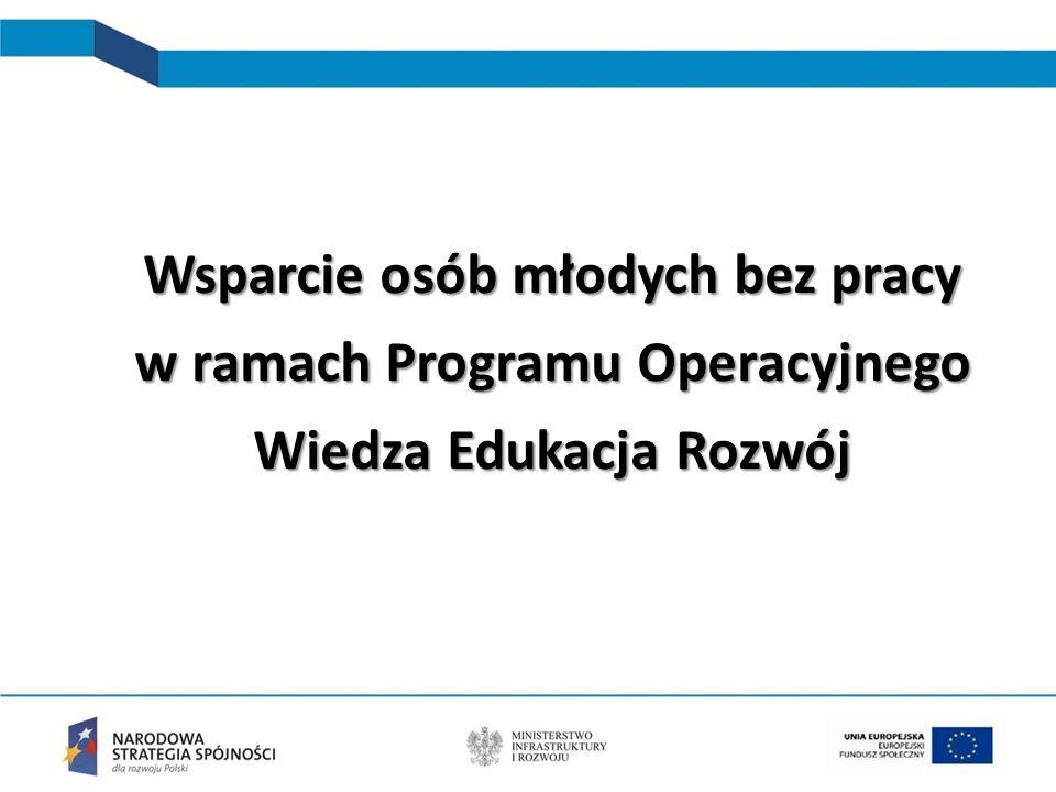 Inicjatywa na rzecz zatrudnienia ludzi młodych 8 6 mld euro (3 mld euro EFS+3 mld euro YEI) [dla Polski 550 mln euro) Wsparcie osób młodych w wieku 15-24 lata, którzy nie pracują i nie uczestniczą w kształceniu lub szkoleniu (tzw.